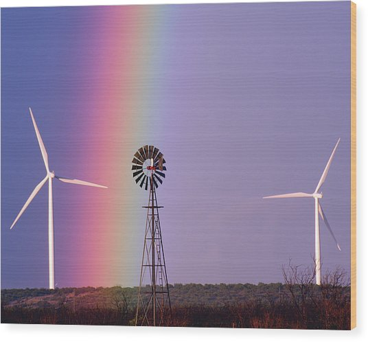 Windmill Promises Old And New Wood Print