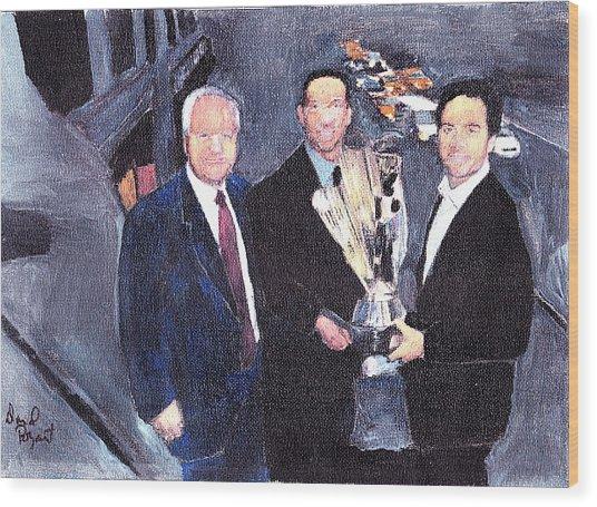 Winning Nascar Wood Print by David Poyant