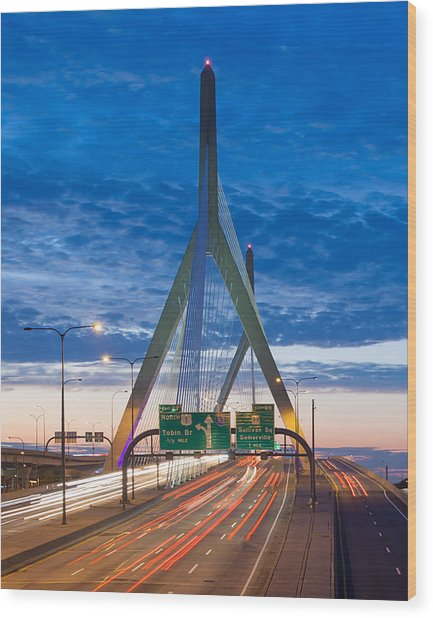 Zakim Bridge Wood Print