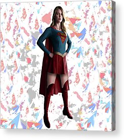 Supergirl Mixed Media Acrylic Prints
