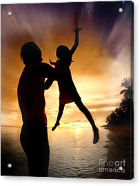 Silhouette Family Of Child Hold On Father Hand Acrylic Print by Anek Suwannaphoom