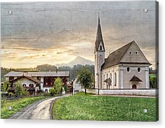 Country Church Acrylic Print by Debra and Dave Vanderlaan