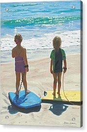 Girls On Boogie Boards Acrylic Print by Steve Simon