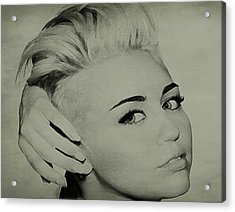 Acrylic Print featuring the drawing Miley Cyrus  by Brian Reaves
