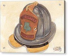 Proud To Be Irish Fire Helmet Acrylic Print by Ken Powers