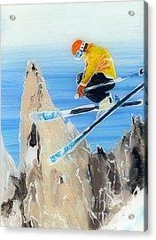 Skiing At Flegere Acrylic Print by Sara Pendlebury