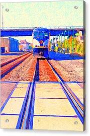 Amtrak Train . Photo Art Acrylic Print by Wingsdomain Art and Photography