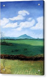 Acrylic Print featuring the pastel Hermit's Peak by Jan Amiss