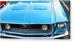 1968 Mustang Fastback Hood Acrylic Print by Paul Ward