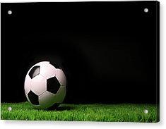 Soccer Ball On Grass Against Black Acrylic Print