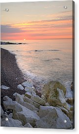 Sunrise At The White Cliffs Of Dover Acrylic Print