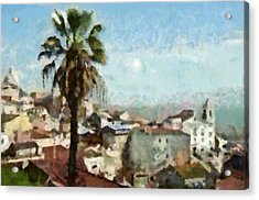 Acrylic Print featuring the painting Lisbon by Dariusz Gudowicz