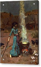 The Magic Circle Acrylic Print by John William Waterhouse