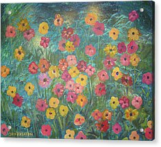 A Field Of Flowers Acrylic Print by John Keaton