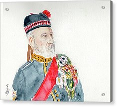 Acrylic Print featuring the painting A Scottish Soldier by Yoshiko Mishina