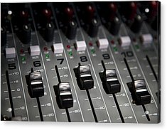 A Sound Mixing Board, Close-up, Full Frame Acrylic Print by Tobias Titz