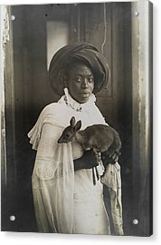 A Young Kenyan Woman Holds Her Pet Deer Acrylic Print by Underwood And Underwood