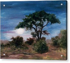 Acrylic Print featuring the painting African Moon by Brenda Thour
