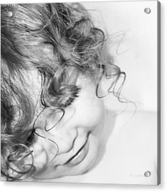 An Angels Smile - Black And White Acrylic Print by Kerri Ligatich