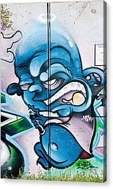 Angry Blue Creature With A Spray-paint Can Acrylic Print