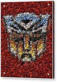 Autobot Transformer Bottle Cap Mosaic Acrylic Print by Paul Van Scott