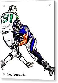 Baltimore Ravens  Ray Lewis - New York Jets Dustin Keller Acrylic Print by Jack K