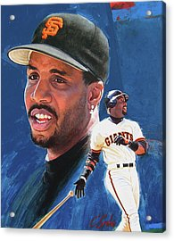 Acrylic Print featuring the painting Barry Bonds In The Shadow by Cliff Spohn