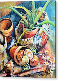 Acrylic Print featuring the painting Baskets by Linda Shackelford