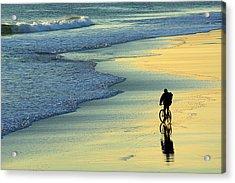 Beach Biker Acrylic Print by Carlos Caetano