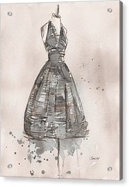Black And White Striped Dress Acrylic Print by Lauren Maurer