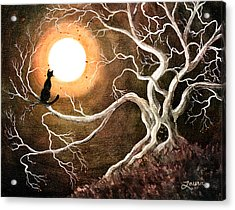 Black Cat In A Spooky Old Tree Acrylic Print by Laura Iverson