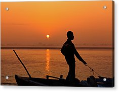 Boatsman On The Ganges Acrylic Print