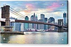 Brooklyn Bridge Restoration Acrylic Print by Ryan D. Budhu