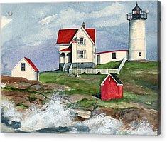 Cape Neddic Lighthouse  Acrylic Print by Nancy Patterson