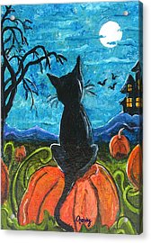 Cat In Pumpkin Patch Acrylic Print by Paintings by Gretzky