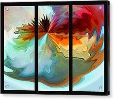 Center Piece 'triptych' Acrylic Print by Terril Heilman