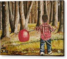 Chasing That Big Red Ball Acrylic Print