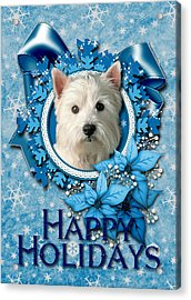 Christmas - Blue Snowflakes West Highland Terrier Acrylic Print by Renae Laughner