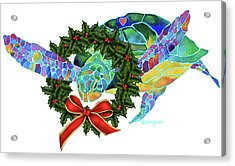 Christmas Holiday Sea Turtle Acrylic Print by Jo Lynch