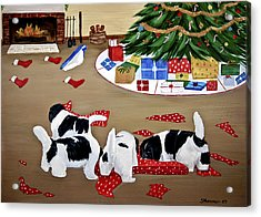 Acrylic Print featuring the painting Christmas Mischief by Sharon Nummer