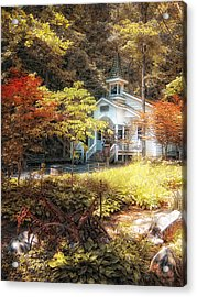 Church In The Woods Acrylic Print by Gina Cormier