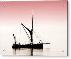 Coble Sailing  Against Pint Sky Acrylic Print