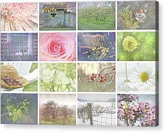 Collage Of Seasonal Images With Vintage Look Acrylic Print by Sandra Cunningham