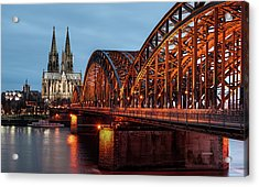 Cologne Cathedral At Dusk Acrylic Print by Vulture Labs