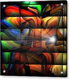 Colorful Abstract Sunburst Acrylic Print by Teo Alfonso