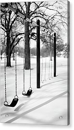 Deep Snow & Empty Swings After The Blizzard Acrylic Print by Trina Dopp Photography