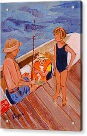 Dockside Negotiation On Who Is Fishing Acrylic Print