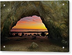 Dramatic Sunset Seen From Inside Cave On Beach Acrylic Print by Chasethesonphotography
