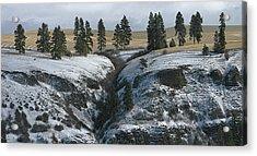 Elberton Cliffs In Winter Acrylic Print by Jerry McCollum