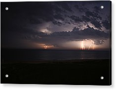 Electrical Storm Over Lake Michigan Acrylic Print by Christopher Purcell